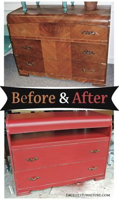 Before & After - Waterfall dresser repurposed into Barn Red media stand. From Facelift Furniture. Diy Furniture Redo, Refurbished Furniture, Repurposed Furniture, Home Furniture, Bedroom Furniture, Modern Furniture, Redoing Furniture, Painting Furniture, Vintage Furniture