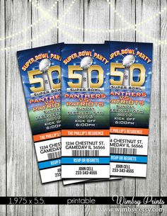 Super Bowl 50 Printable Ticket Invitations