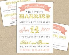 Rustic Wedding Invitation and RSVP -  Vintage, Pink, Mustard Yellow, Grey, Lace, floral, garden, backyard, Templates, Prints, Printed (1085)