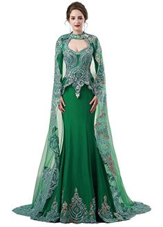Womens Gold Lace Mermaid Long Sleeve Prom Gown Satin Wedd...