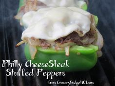 Make your own philly cheese Steak Stuffed Peppers cheesesteak stuf, chees steak, grilled stuffed peppers, dinner idea, stuf pepper, cheese steak peppers, recip, philli cheesesteak, cheese steak stuffed peppers