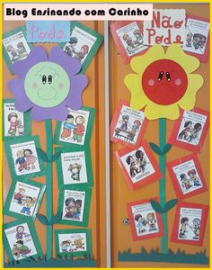 Painel de comportamento com moldes - SÓ ESCOLA Classroom Rules, Classroom Decor, Pre School, Sunday School, Manners For Kids, Kindergarten, Cubbies, Art For Kids, Activities For Kids
