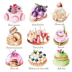 Enya is a UK based food illustrator and graphic designer who specialise in a varity of food, patisserie and florals as well as creating stunning logo designs for cake businesses. Dessert Illustration, Illustration Noel, Cake Roses, Arte Copic, Desserts Drawing, Food Art Painting, Cute Food Art, Food Sketch, Watercolor Food