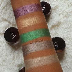 Swatches by @beautyfrenzyblog (Instagram) in the Makeup Geek FOILED pigments in Enchanted, Firefly, Voodoo, Gargoyle, and Telepathic. Makeup Geek, Beauty Makeup, Eye Makeup, Eyeshadows, Voodoo, Beauty Ideas, Enchanted, Hair Ideas, Swatch