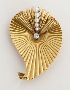 Brooch | Designer ?  14k gold, pearls and diamonds.  ca. 1940s