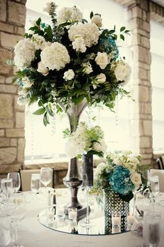Wedding Centerpieces - tall with ivory hydrangeas, teal accents, silver base