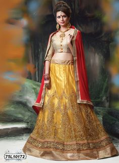 Buy Astounding Yellow Colored Designer Lehenga Get 30% Off on Designer Lehenga Choli From Leemboodi Fashion with Free Shipping in INDIA Now Available on Cash On Delivery