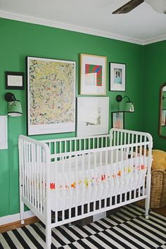 Love that green and the idea of such a bright color for a nursery....grandchildren