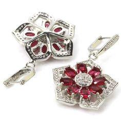 Hi End Pink Raspberry Rhodolite Drop Earrings 1 & White  CZ Weimaraner Rescue   #Unbranded #DropDangle