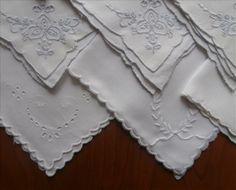 12 Tea Napkins Vintage Cutwork Hand Embroidery Mixed