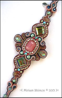 Pink Aqua Green Soutache Beaded Bracelet by MiriamShimon on Etsy, $140.00