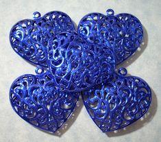 5 Large Blue Filigree Hearts Puffed Heart Pendants