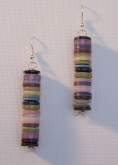 Button earrings.... Think of all the color combinations you could make!