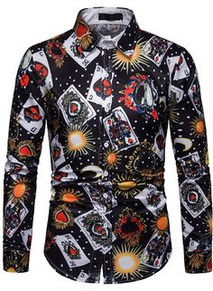 Men Shirt 19 Brand Fashion Casual Playing Cards Print Long Sleeve Shirt Men Business Social Chemise Homme Streetwear - Welcome to Worldwide Etopmart Casual Shirts For Men, Men Casual, Funky Shirts, Blue Colour Shirt, Georgia, Business Mode, Korea, Paisley Print Dress, Ghana