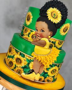 🥳 • ¡Qué hermosura de creación! 🌻 Fuente: 📸 @kelly_kaxe #ecumple #cakes #torta #bizcocho #cakedecorating #cake #pastel Baby Cakes, Baby Shower Cakes, Gateau Baby Shower, Sunflower Party, Sunflower Cakes, Sunflower Baby Showers, Beautiful Birthday Cakes, Gorgeous Cakes, Cute Cakes