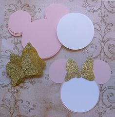 25 Pink Minnie Mouse Head Shapes White Circle Shapes Gold Glitter Bows- Die Cut pieces for DIY Birthday Party Invitations Mickey Minnie Mouse, Minnie Mouse 1st Birthday, Pink Minnie, Mickey Party, Diy Birthday, 1st Birthday Parties, Birthday Party Invitations, Birthday Ideas, Michaels Craft