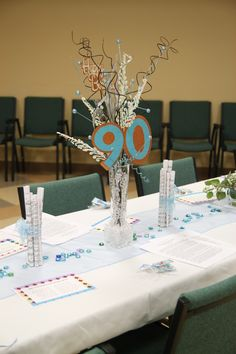 Centerpieces for Mom's 90th birthday