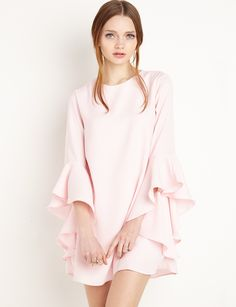 Pink Ruffled Bell Sleeve #Babydoll Dress by New Revival #fashion #pixiemarket