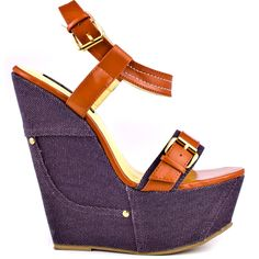 You'll be smitten with adorable wedge by Shoe Republic. Pocket brings you a bright patent orange upper with cute buckle detail at the single strap vamp. A purple denim like fabric blankets the 5 inch wedge and 2 inch platform create a heart pounding look. Shoes Too Big, Hot Shoes, Women's Shoes, Wedge Boots, Shoe Boots, Wedge Sandals, Multi Coloured Wedges, Orange Shoes, Orange Wedges