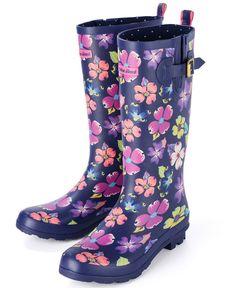 Womens Festival Wellies  - Urban Beach Ladies Navy Blue Floral Wellington Boots
