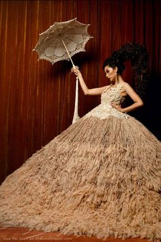 Love the long tassel on the end of the parasol!  Rose Studio by Guo Pei - ballgown wedding dress and parasol