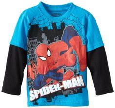 12 Months Blue spiderman Boys Marvel 2pc Long Sleeve Coat Pajama Set