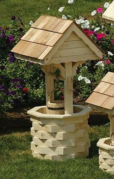 Amish Outdoor Wooden Wishing Well with Cedar Roof - Love this idea!!!: