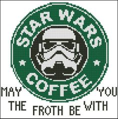 Sold a copy through my eBay.com storefront. Star Wars Coffee Printed Cross Stitch Pattern #PinoyStitch