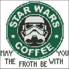 Sold a copy through my eBay.com storefront. Star Wars Coffee Printed Cross Stitch Pattern #PinoyStitch