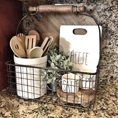 A kitchen is not a kitchen without a small Rae Dunn. A kitchen is not a kitchen without a small Rae Dunn. - - # Cheese Board Always. Farmhouse Side Table, Farmhouse Kitchen Decor, Rustic Farmhouse, Farmhouse Style, Italian Kitchen Decor, Farmhouse Baskets, Eclectic Kitchen, Diy Kitchen Decor, Cute Dorm Rooms
