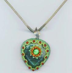 Green Agate Heart Pendant . Emerald Green w/ Cat's Eye Cabachon by enchantedbeads, $37.00