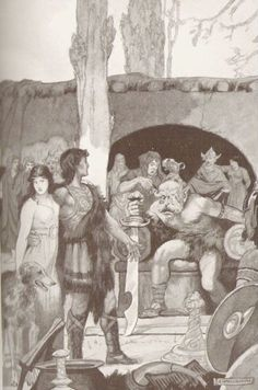 """Culhwch and his companions at Ysbadadden's court. Image by E. Wallcousins in """"Celtic Myth & Legend"""", Charles Squire, 1920."""
