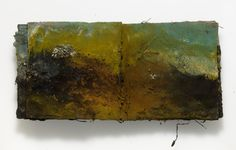 Landscape Book (interior detail), pigment, oil and acrylic paint, hand-stitched canvas artist book. by Kimberly Kersey-Asbury