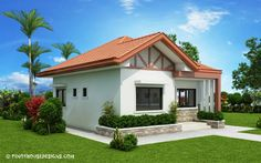 Two bedroom small house design is small version of Ruben Model. Simple design with long span galvanized iron roofing, pre-paint metal tile effect on steel purlins and trusses. Wall is white Two Bedroom House Design, Bedroom House Plans, Small House Design, Modern Bungalow House, Bungalow House Plans, Small House Plans, Hip Roof Design, Small Cottage Designs, Model House Plan