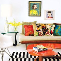 Lively, unique and modern living room of Montreal shop owner, Sylvie Rochon - via Style At Home