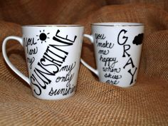 You Are My Sunshine Couples Coffee Mug/ Cup by TheAfterPicture