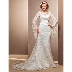 Lanting+Trumpet/Mermaid+Plus+Sizes+Wedding+Dress+-+Ivory+Court+Train+Scoop+Lace+–+USD+$+149.99