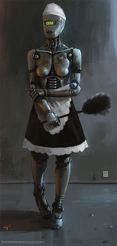 Mechanical Maid by Thomas Wievegg | Image brought to you courtesy of www.robotradio.com | An Alien Gift to Mankind.