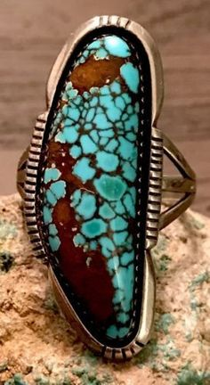 Large-ED-KEE-Navajo-Sterling-amp-Gem-Spiderweb-Ring-Size-10-Must-C