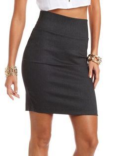 Textured Pull-On Pencil Skirt  $16.99 Waist Skirt, High Waisted Skirt, Charlotte Russe, Pencil, Shoe Bag, Skirts, Clothing, Bags, Shoes
