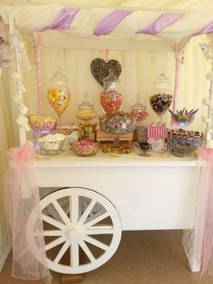 Pink and lilac candy cart in a marquee setting Candy Cart, Lilac, Pink, Dessert, Weddings, Sweet, Shoe Bench, Fiestas, Candy