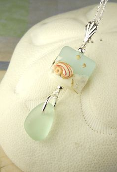 Shell Lampwork Bead And Genuine Aqua Sea by SurfsideSeaGlassGems
