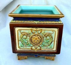 Antique Sarreguemines Majolica Faience Pottery Jardiniere Planter Lion Heads | eBay