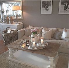 Cozy Grey Living Room Inspiration – LOVE all these gray and white living rooms and dark gray living room ideas! I really like a neutral living room with pops of … Coastal Living Rooms, Cozy Living, Home Living Room, Apartment Living, Living Room Designs, Cozy Apartment, Shabby Chic Living Room Decor, Living Room Decorations, Living Room Ideas