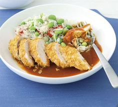 Chicken Katsu - Katsu is a Japanese method of breadcrumbing chicken- this version is served with a rich curry sauce