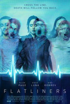 nuevo cartel promocional de Enganchados a la Muerte, la secuela de Línea Mortal que protagonizan Ellen Page, Diego Luna y Nina Dobrev, a quienes vemos en shock en el cartel.