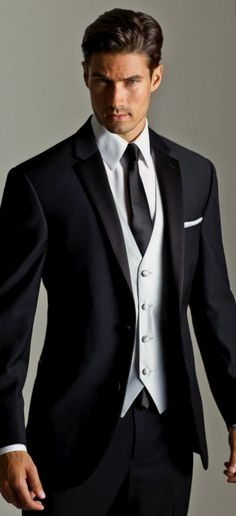 Wedding Groomsmen suits should be paid as much attention as bridesmaid dresses! We mean, they are your best friends, your brothers, the men that will see you get married even if you get cold feet! We have covered wedding attire groom related, but your groomsmen need their very own unique wedding tuxedos or suits or outfits that will make everyone know that those are the great men who will stand by your side while you go through the best day in your life and all those days to come! Black Suit Wedding, Wedding Men, Wedding Suits, Wedding Attire, Menswear Wedding, Wedding Tuxedos, Tuxedo Wedding, Wedding Ideas, Black Tie Suit