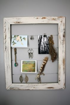 Handmade distressed frame for hanging various objects from wire. This one created by GemsOfTheSoil