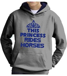 Heather Grey/Navy Hoodie 'THIS PRINCESS RIDES HORSES' with Pearlescent Blue Print.