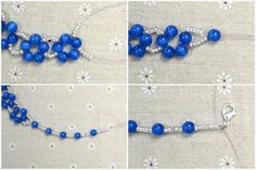Ocean Style Jewelry Patterns-How to Make a Simple Royal Blue Beaded Necklace Beaded Anklets, Beaded Earrings, Jewelry Patterns, Bracelet Patterns, Bead Loom Bracelets, Handmade Beaded Jewelry, Jewelry Making Tutorials, Blue Necklace, Beads And Wire